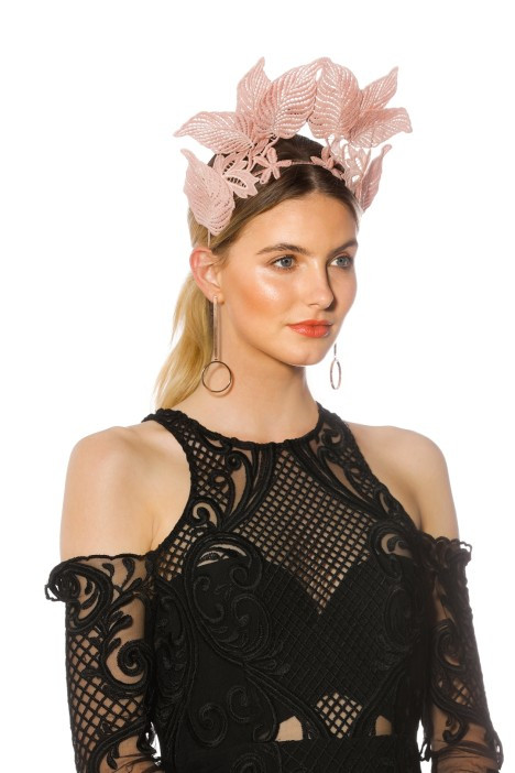 Morgan and Taylor - Florence Fascinator - Dusty Pink - Side