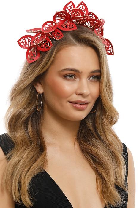 Morgan & Taylor - Jasmine Fascinator - Red - Side Model