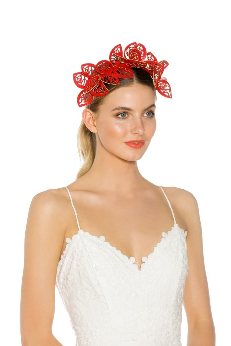 Morgan & Taylor - Jasmine Fascinator - Red - Side Model