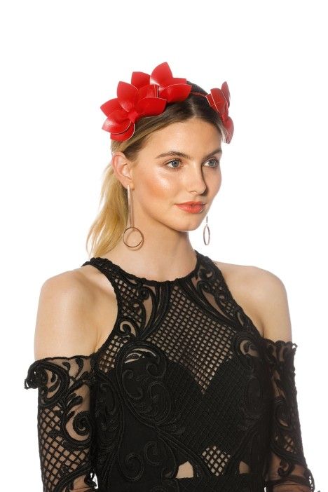 Morgan_Taylor - Sheridan Fascinator - Red - Side