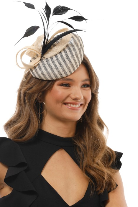 Morgan & Taylor - Striped Beret With Coque Feather - Black and White - Side Model