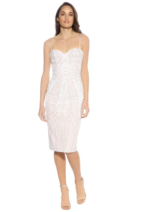 Mossman - The Enchanted Garden Thin Strap Dress - Nude/Ivory - Front