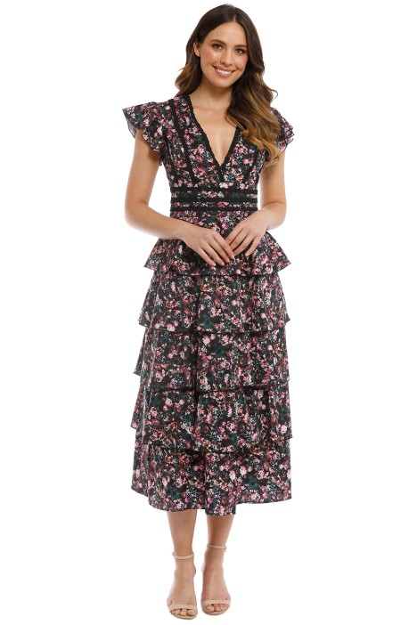 Mossman - In Full Bloom Dress - Black Floral - Front