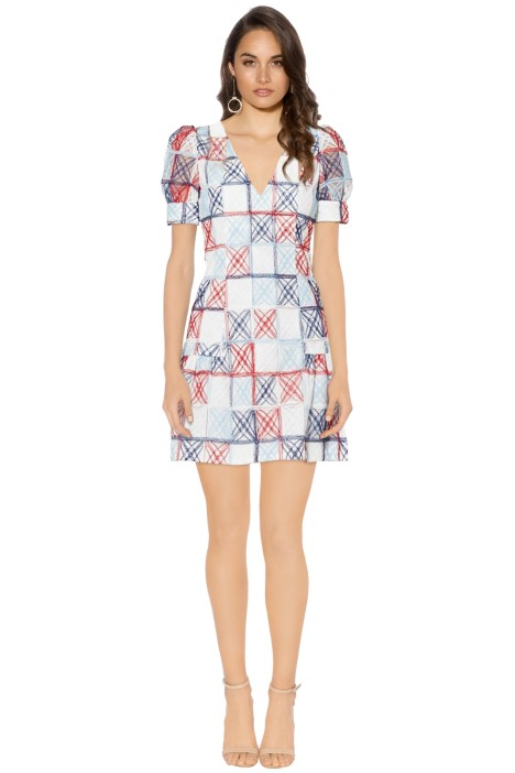 Mossman - The Equal Angles Mini Dress - Red Blue Print - Front