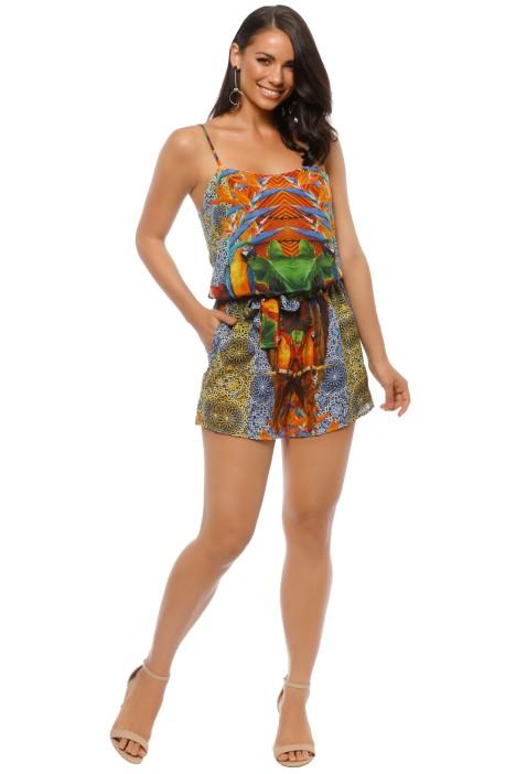Natasha Gan - Sleeveless Playsuit - Parrot Print - Front
