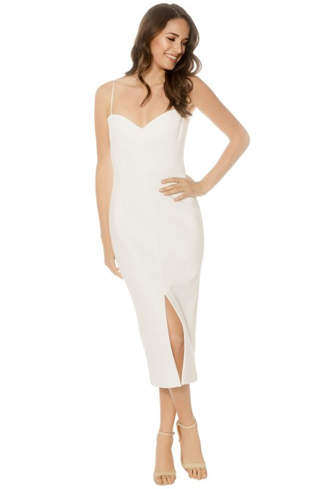 Nicholas - Bandage Quilted Midi Dress - Ivory - Front