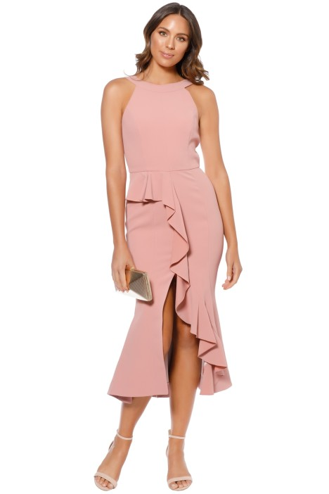 Nicholas - Crepe Asymmetric Ruffle Dress - Rose - Front