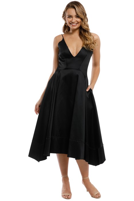 Nicholas - Duchess Satin Ball Dress - Black - Front