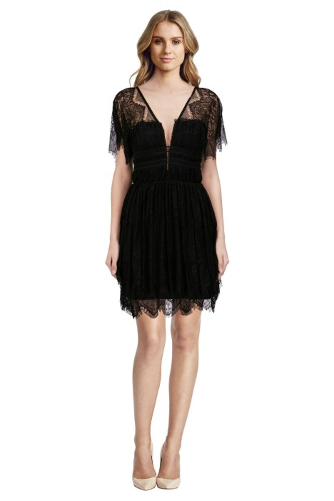 Nicholas - Eyelash Lace Mini Dress - Black - Front
