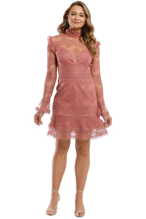 713f2a5181f2 Thalia Lace Ruffle Mini Dress in Dusty Rose by Nicholas for Hire