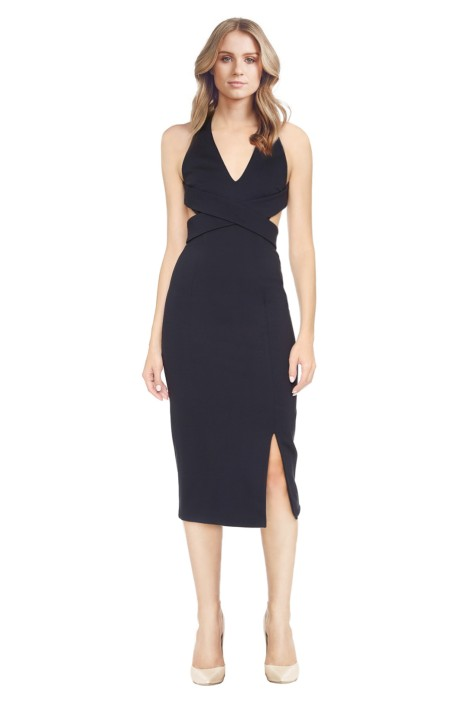 Nicholas - Navy Ponte Wrap Halter Dress - Front