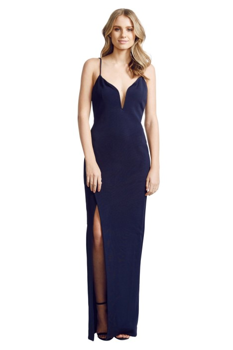 Nicholas The Label - Bandage Deep V Wire Gown - Navy - front
