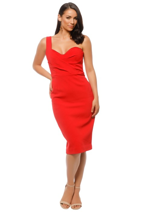 Nicholas The Label - Bandage One Shoulder Midi - Red - Front