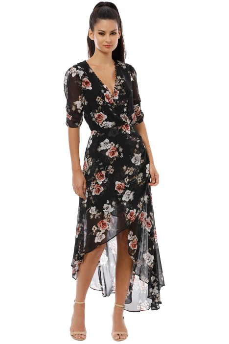 Nicholas the Label - Black Rose Wrap Drape Dress - Black - Front