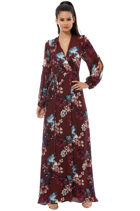 Nicholas the Label - Burgundy Floral Wrap Dress - Burgundy - Front