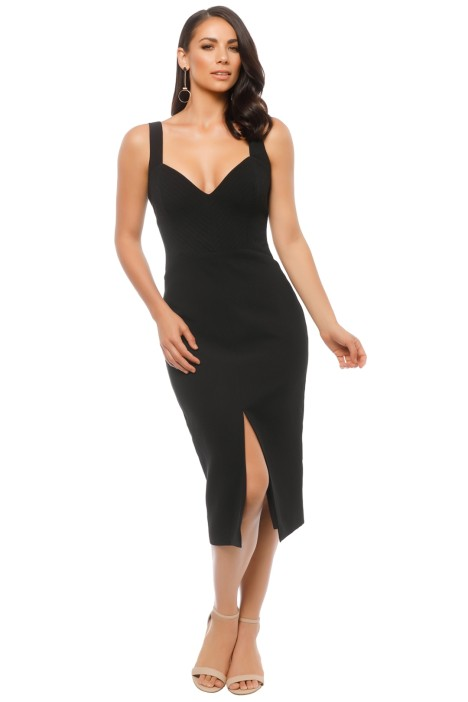 Nicholas The Label - Crepe Quilted Bra Dress - Black - Front