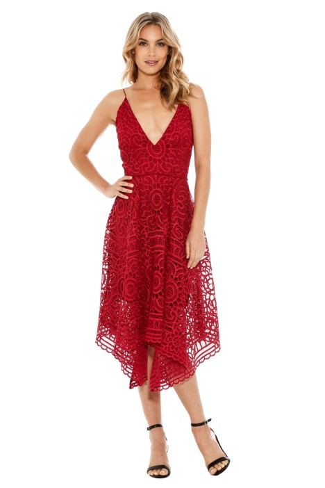 Nicholas - Floral Lace Ball Dress - Berry Red - Front