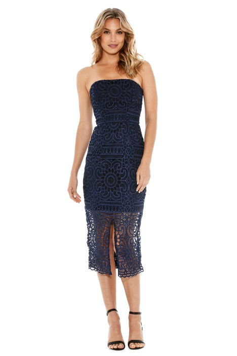 Nicholas the Label - Geo Floral Lace Strapless Dress - Navy - Front
