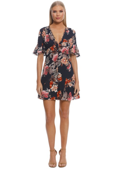 62a25396416 Navy Rust Floral Godet Button Front Dress by Nicholas for Rent