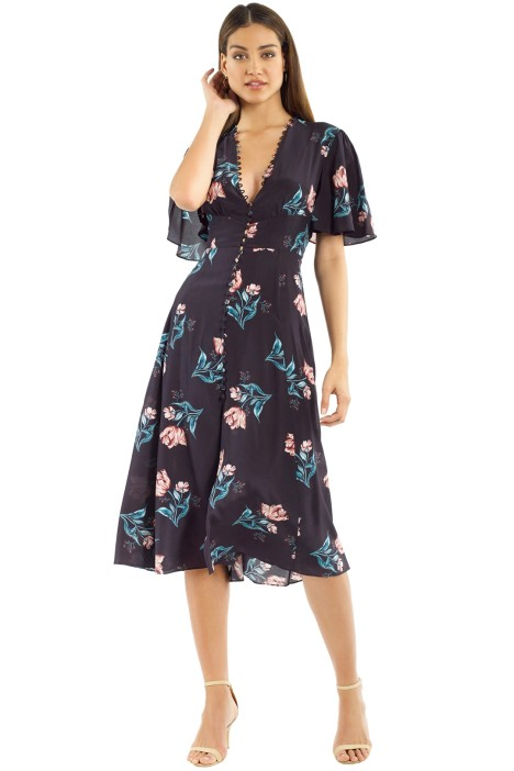 Nicholas the Label - Piper Floral Button Midi Dress - Black Floral - Front