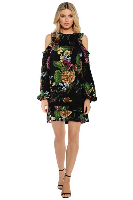 Nicholas The Label Dahlia Floral Print Ruffle Mini - Black Floral - Front