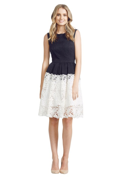 Nicola Finetti - Paris Lace Dress - Front - Black and White
