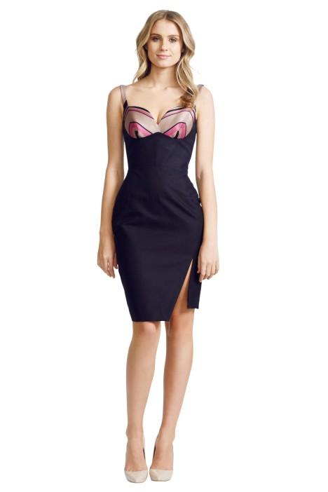 Nicola Finetti - Racer Split Dress - Black Print - Front