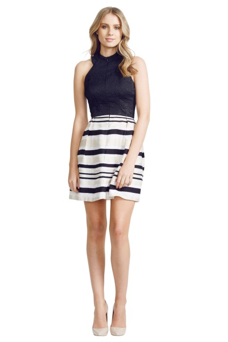Nicola Finetti - Stripe Skirt Zip Front Dress - Front - Black