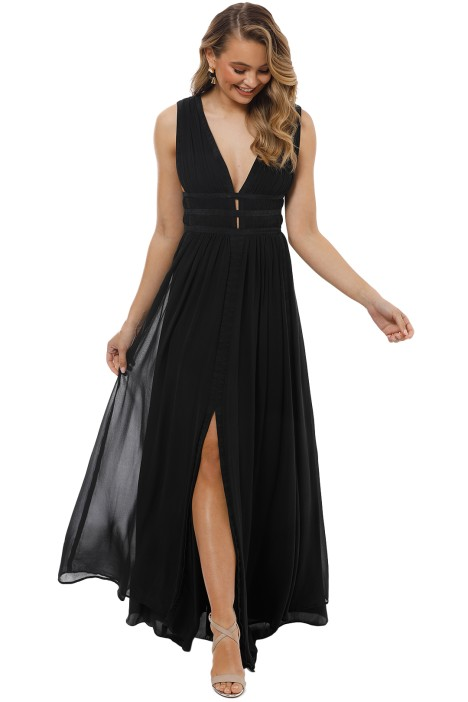 Gladiator Silk Gown in Black by Nicole Miller for Rent