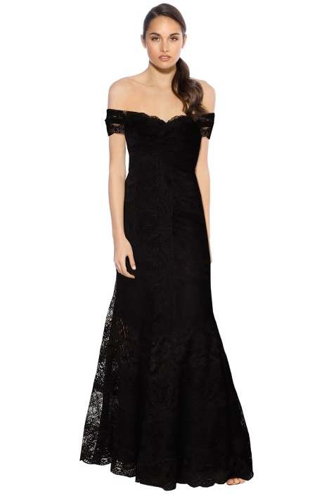 Nicole Miller - Loren Stretch Lace Gown - Black - Front