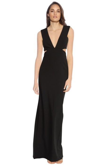 Nicole Miller - Plunge Cut Out Gown - Black - Front