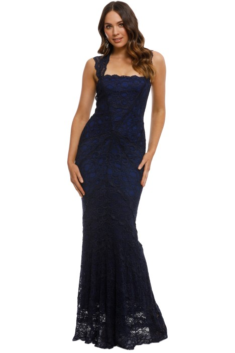 Nicole Miller - Zaria Lace Gown - Navy - Front