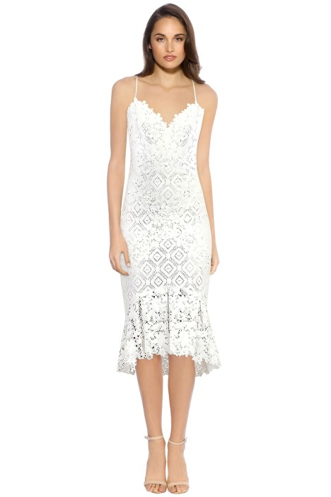 Nicole Miller Leila Lace Combo Dress - White - Front