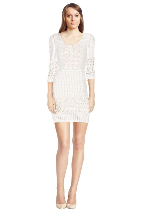 Nightcap - Spiral Lace Scoop Dress - White - Front
