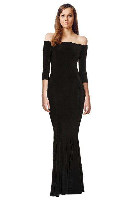 Norma Kamali - Off Shoulder Fishtail Gown - Black - Front
