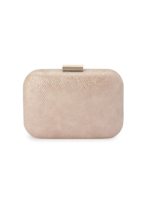 Olga Berg - Ana Woven Metallic Clutch - Champagne - Product