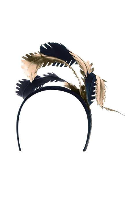 Olga Berg - Brooke Metallic Feathers Fascinator - Black Light Gold - Front df8338e864b
