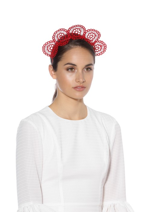 Olga Berg - Claire Lace Headband - Red - Model