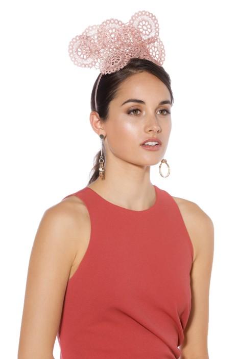 Olga Berg - Courtney Lace Fascinator - Rose - Side Model