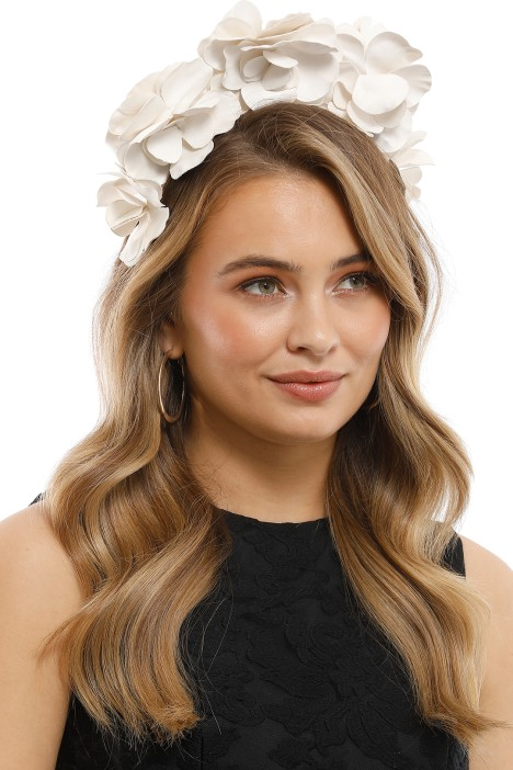 Olga Berg - Floral Fascinator - White - Side Model