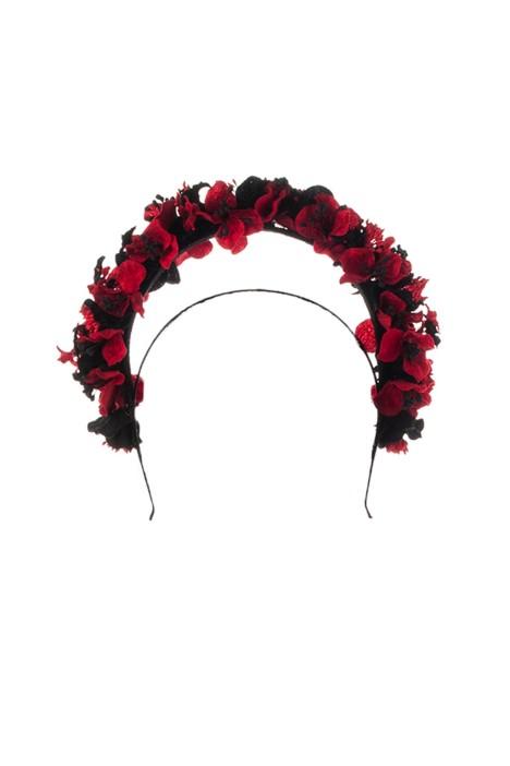 Olga Berg - Karlie Floral Halo Fascinator - Red - Front