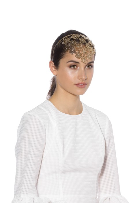 Olga Berg - Reyna Flora Headband - Gold - Front Model