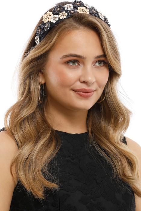 Olga Berg - Victoria Floral Headband - Navy - Side