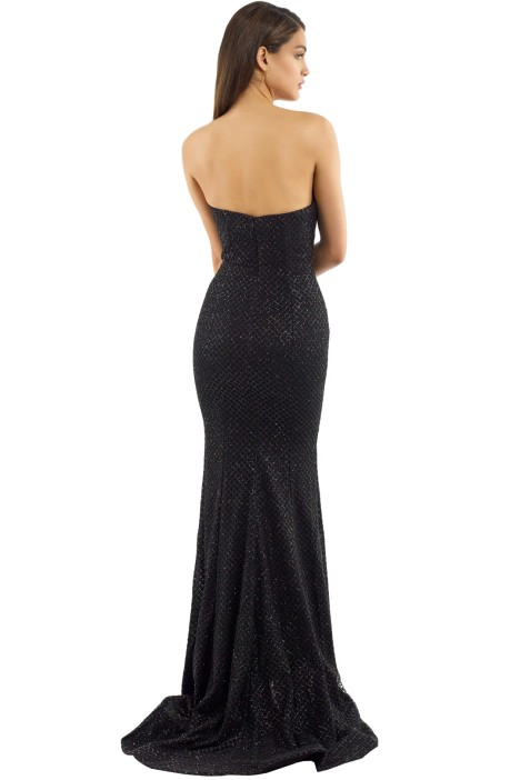 f7e462558c21 Tyra Strapless Gown in Black by Portia and Scarlett for Rent