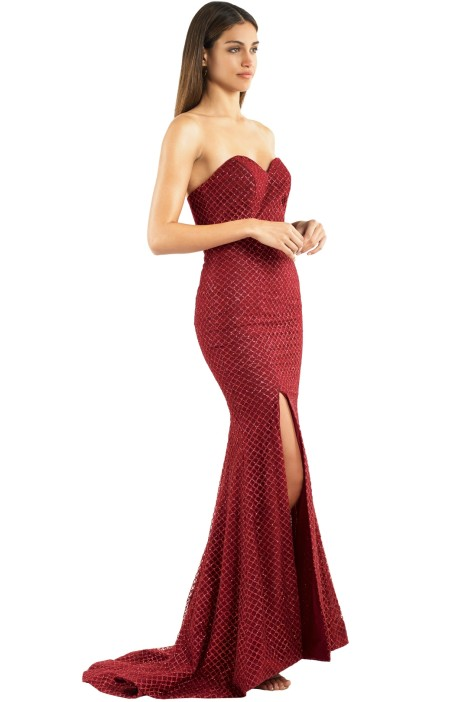 04c74a29f61e Tyra Strapless Gown in Red by Portia and Scarlett for Rent