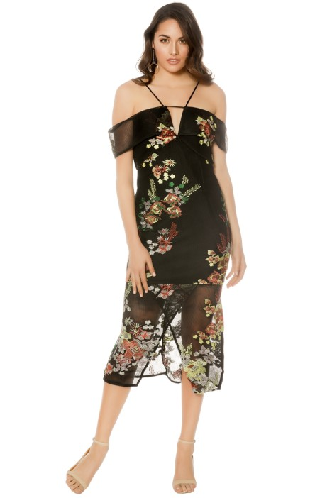 Premonition - Secret Garden Cocktail Dress - Black Floral - Front