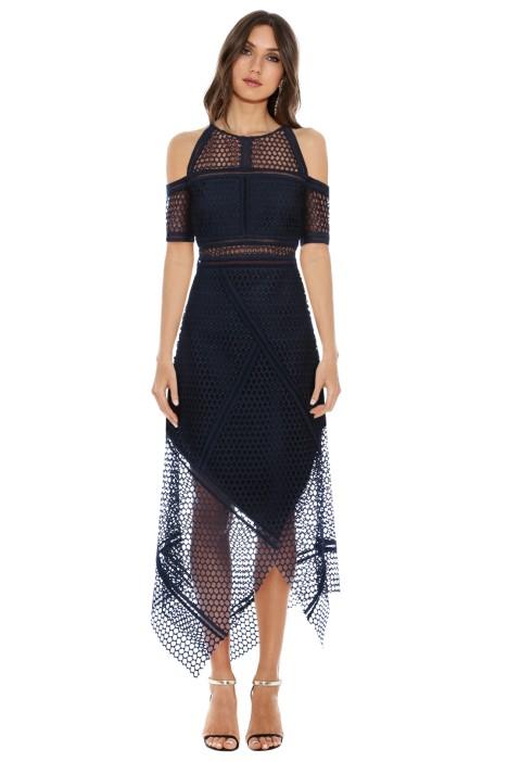 Rachel Gilbet - Honeycomb Wrap Dress - Navy - Front