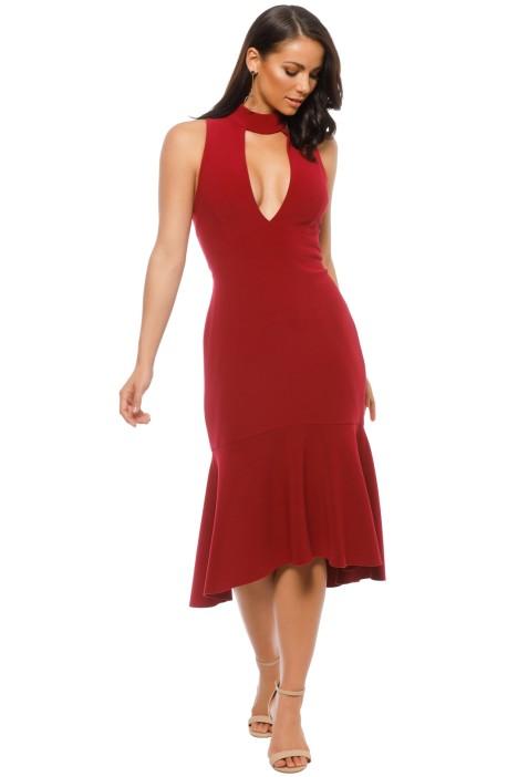 Rebecca Vallance - Bravado High Neck Plunge Dress - Berry - Front