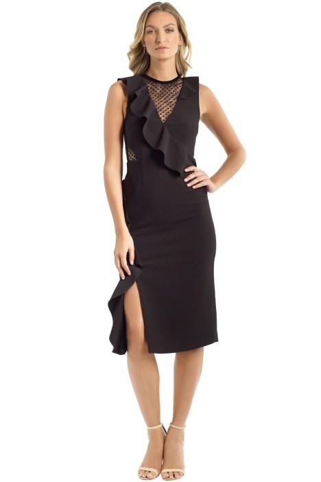 Rebecca Vallance - Gabriella Spot Lace Midi Dress - Black - Front
