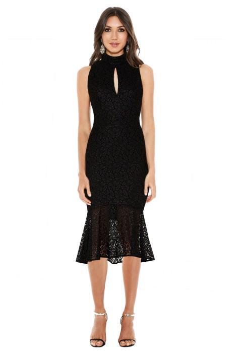 Rebecca Vallance - Sistine High Neck Flare Midi Dress - Black - Front